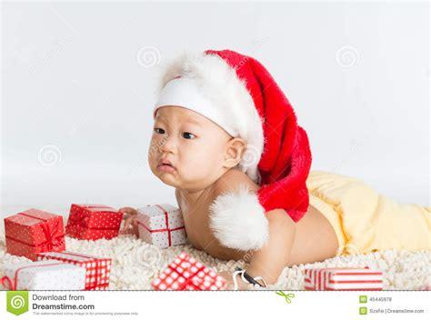 baby christmas gift asian santa baby boy stock photo image of happiness 45445978