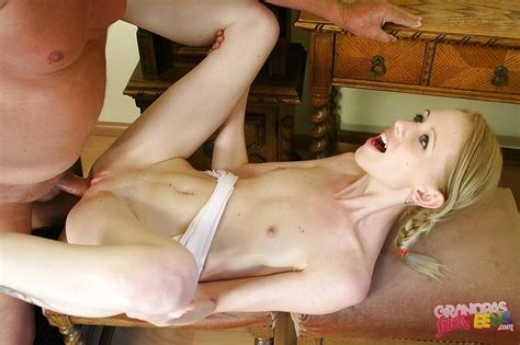 Skinny Teen With Pigtails Fucks An Oldman And Gets Her
