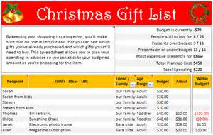 christmas gift list set your budget and track gifts using excel chandoo org learn
