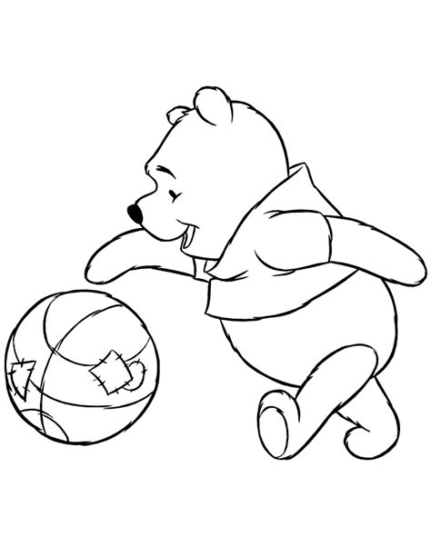 disney pooh bear bouncing basketball coloring page
