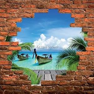 Mur Trompe L Oeil : sticker mural trompe l il mur de pierre barque tha landaise stickers muraux deco ~ Melissatoandfro.com Idées de Décoration