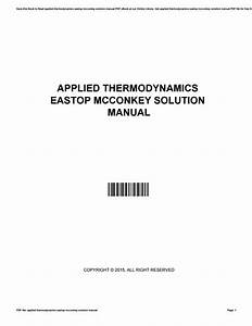 Applied Thermodynamics Eastop Mcconkey Solution Manual By