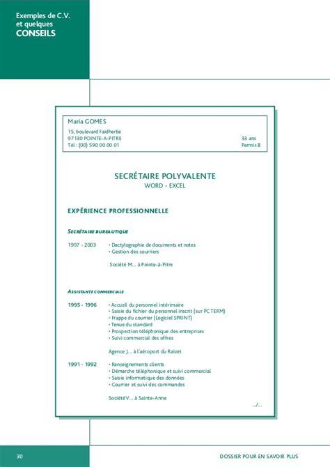 modele cv gratuit secretaire polyvalente document