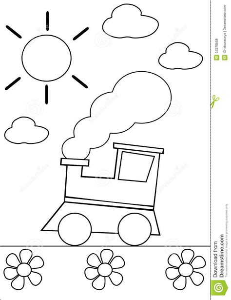 coloring train royalty  stock  image