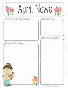 april newsletter for all grades teaching ideas With free monthly newsletter templates for teachers
