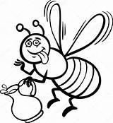 Bee Honey Coloring Cartoon Illustration Pot Plus Google Twitter Nectar Depositphotos sketch template