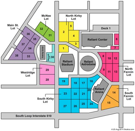 reliant stadium parking lot seating chart