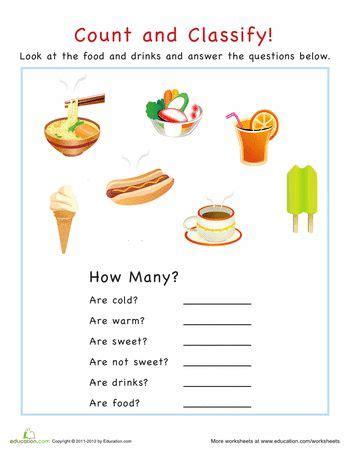 categorization food worksheets  basic math