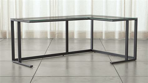 pilsen graphite glass corner desk crate  barrel