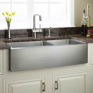 39quot optimum 60 40 offset double bowl stainless steel With 39 inch farmhouse sink