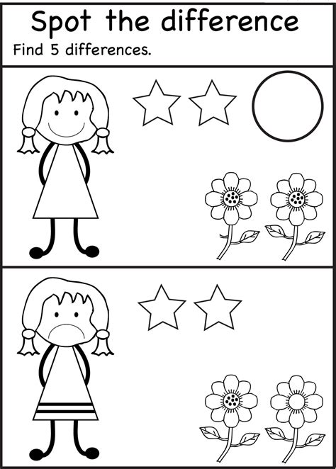 spot  difference worksheets  kids  images