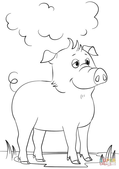 Cute Cartoon Pig coloring page Free Printable Coloring Pages