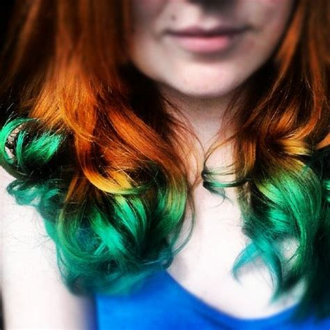 Natural Red Hair Turquoise Dip Dye I Would Love To Do