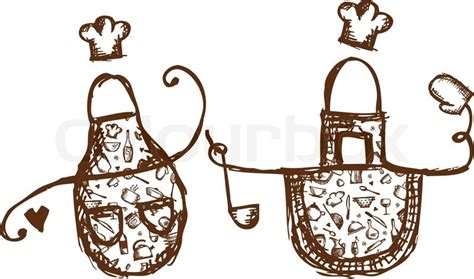 Funny Aprons With Kitchen Utensils Sketch For Your Design