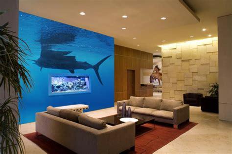 Aquarium Im Wohnzimmer by Unterwasserwelt Wandgestaltung Im Wohnzimmer Archzine Net