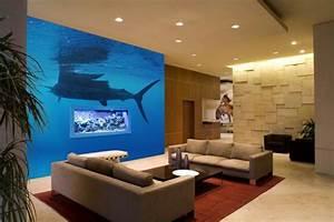 Beleuchtung Im Wohnzimmer : unterwasserwelt wandgestaltung im wohnzimmer ~ Markanthonyermac.com Haus und Dekorationen