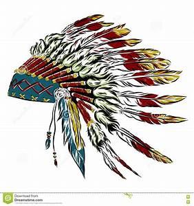 Native American Indian Headdress With Feathers In A Sketch ...