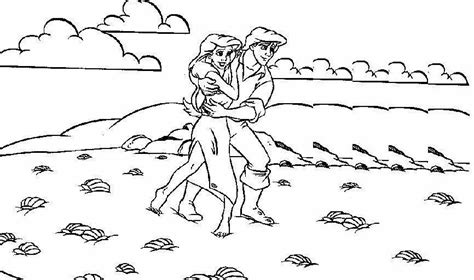 Kleurplaat Ariel Eric by Ariel And Prince Eric Coloring Pages To And Print