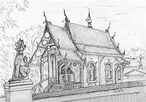 Temple in Thailand Drawing