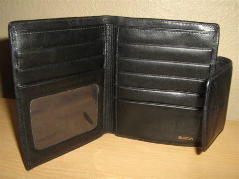 Buxton Vintage Black Velvet Touch Cowhide Leather Clutch