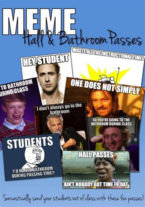school funny meme hall bathroom passes set