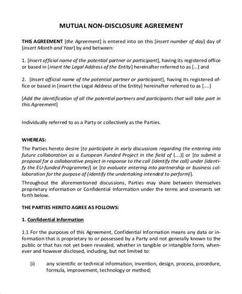 Non Disclosure Agreement Template by Non Disclosure Agreement Template 9 Free Word Pdf