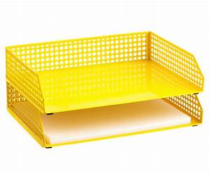 Yellow edison stacking letter tray decor by color for Decorative stacking letter trays