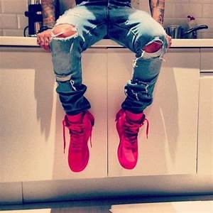 Jeans shoes guys swag ripped jeans - Wheretoget