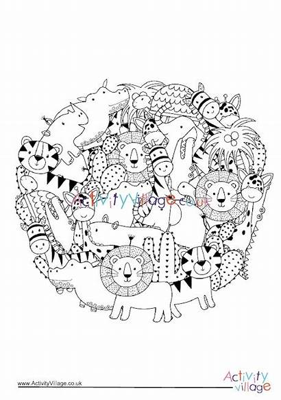 Colouring Animals African Circle Pages Village Activity