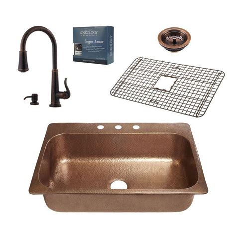 kitchen sink copper sinkology pfister all in one angelico copper sink 33 in 2641