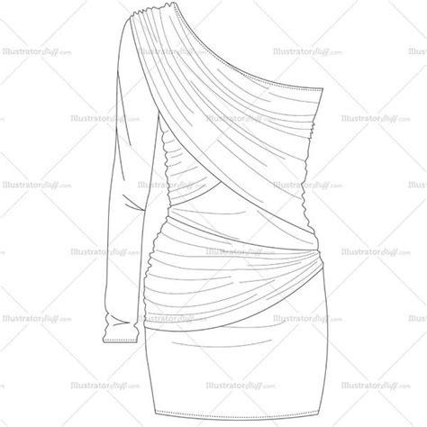 womens  shoulder bodycon dress fashion flat template