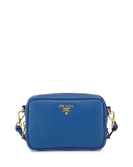 prada saffiano small crossbody bag cobalt blue azzuro