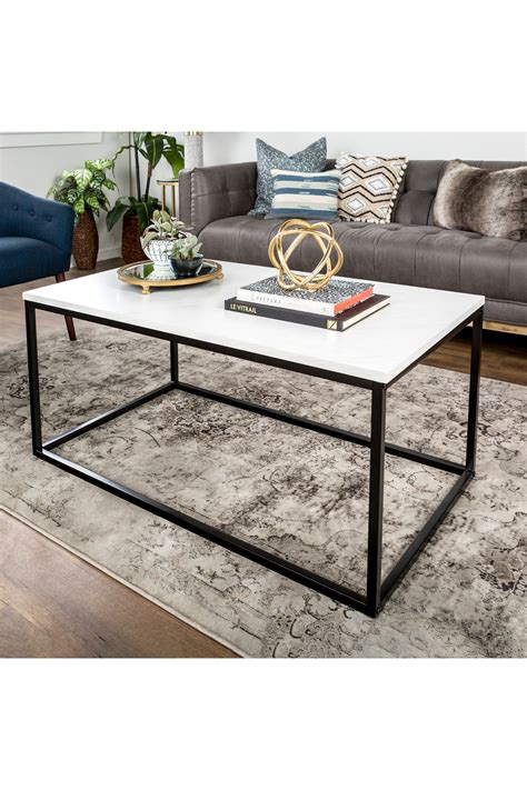"90 x 75 x h 37 cm material: Walker Edison Furniture Company 42"" Mixed Material Marble Coffee Table | Coffee table, Steel ..."