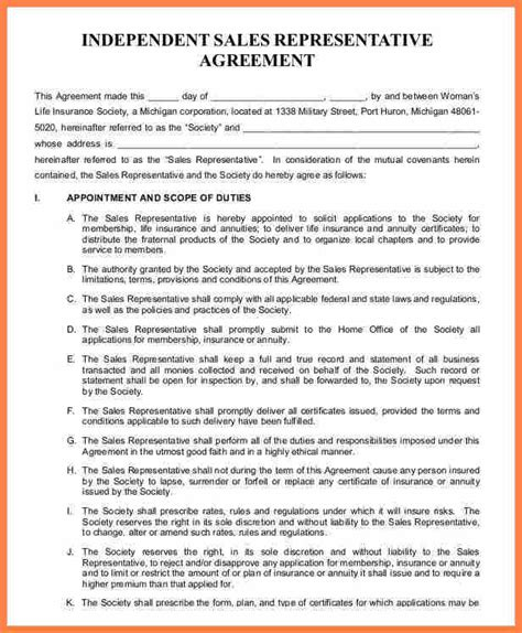 independent sales rep agreement template purchase