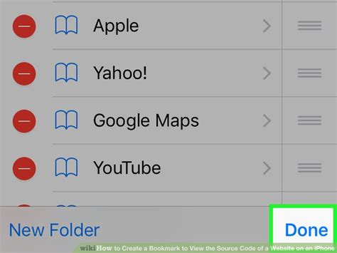 how to create a bookmark to view the source code of a website an iphone