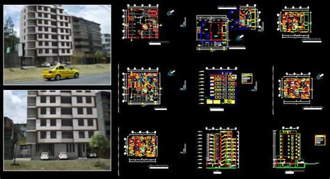 levels apartment building dwg full project  autocad
