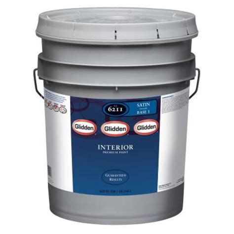 glidden premium 5 gal pure white satin interior paint
