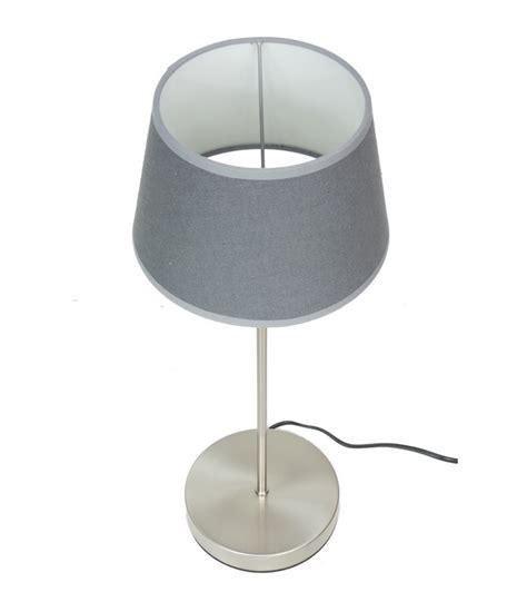 Lampe De Chevet En Aluminium Brossé Et Abat-jour En Tissu Gris