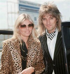 Rod Stewart and Brit Ekland - ca 1975 - he sure seems to ...