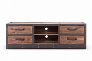 Meuble Tv Industrielle : meuble tv bas industriel vintage tv02 rose moore ~ Nature-et-papiers.com Idées de Décoration