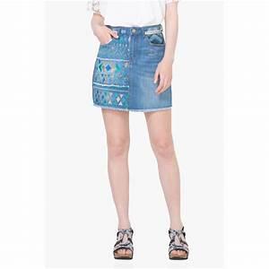 Jupe courte jean femme Desigual Denim Desigual Femme
