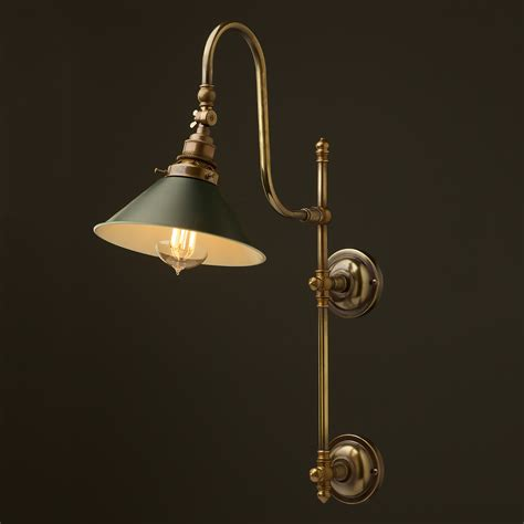antique brass adjustable arm wall shade