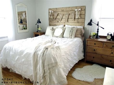 rustic chic master bedroom reclaimed wood look headboard rustic bedrooms all about 17015 | 2aed76a5e801ba6220be4cba1c880c68