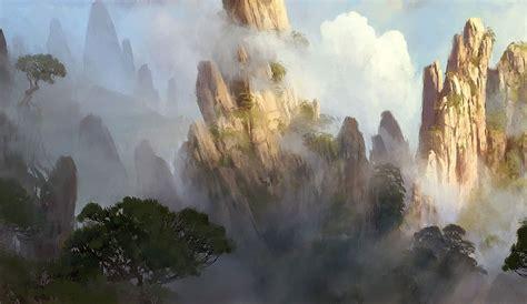mountain landscape characters art world  warcraft