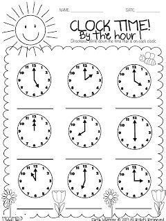 telling time   hour printable telling time