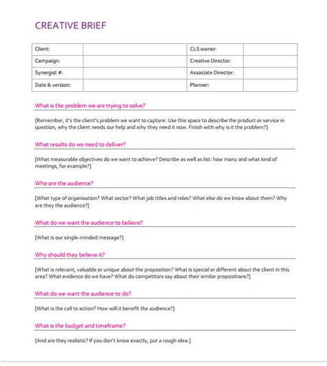 brief template microsoft word creative brief template 8 documents in pdf word sle templates