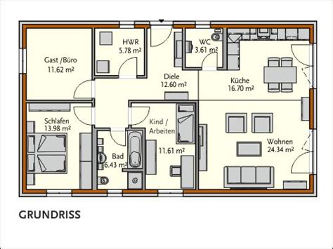 Großer Bungalow Grundriss by Bungalow Ihr Massives R 214 Tzer Ziegel Element Haus