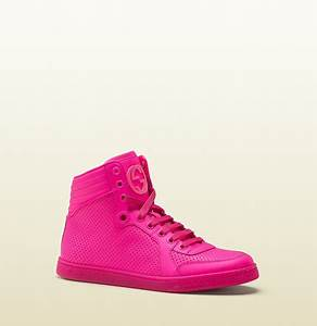 Gucci coda neon pink leather sneaker DBL
