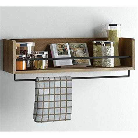 rustic kitchen wood wall floating shelves shelf  metal