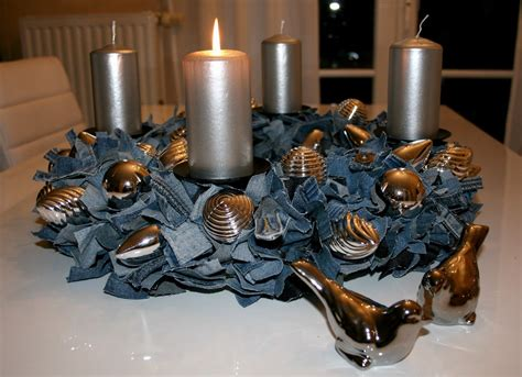 Recycled Denim Table Centerpiece--with Pearls Instead Of